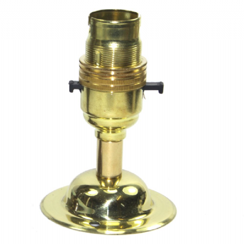 Solid Brass 10mm Switched Lampholder c/w Dome Fixing Plate
